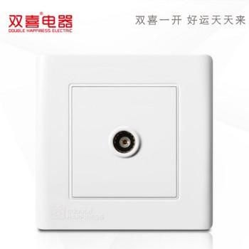 双喜墙壁插座 面板 工程款雅白系列 一位电视插座