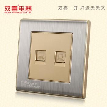 双喜墙壁插座 面板 86-宋彩-描金系列 二位八芯电脑插座