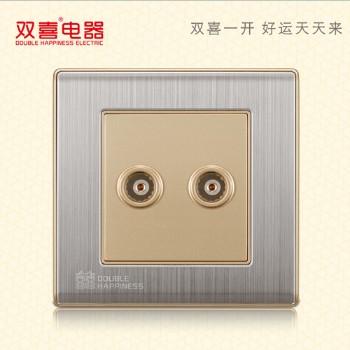 双喜墙壁插座 面板 86-宋彩-描金系列 二位电视插座