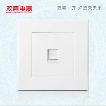 双喜墙壁插座 面板 86-清韵-烟雨系列 一位八芯电脑插座