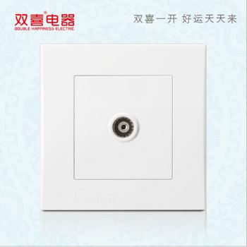 双喜墙壁插座 面板 86-清韵-烟雨系列 一位电视插座