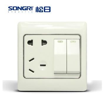 【松日】 插座 S2008系列 二开单控带 五孔插座