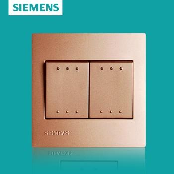 西门子开关插座面板 灵致金系列 双开单控带荧光开关