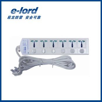 易龙(e-lord) 电源防雷插座  EPP10MS-6  6孔1.8米独立开关插座 插座电源<span style='color:red;'>避雷</span>器