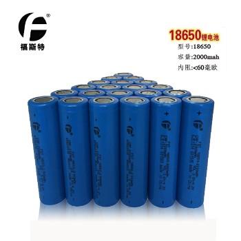 官方直销福斯特长江18650锂电池 移动电源强光等平头数码2000mah