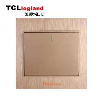 罗格朗(TCL logland) 开关 A3系列 土豪金86型一<span style='color:red;'>开单</span>控(带荧光)