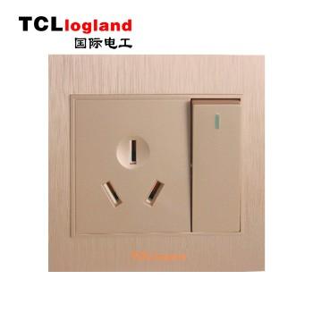 罗格朗(TCL logland) 插座 面板A3系列 土豪金 一开双控带16A三级插座