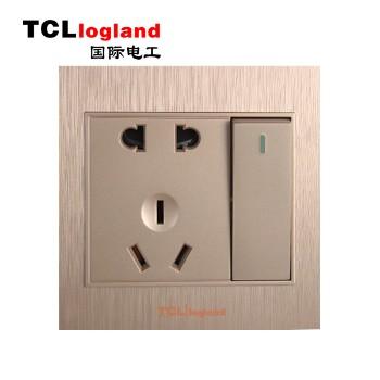 罗格朗(TCL logland) 插座 面板A3系列 土豪金 一开双控带二三级插座