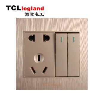 罗格朗(TCL logland) 插座 面板A3系列 土豪金 二开单控带二三级插座
