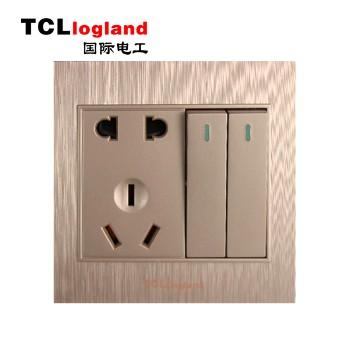 罗格朗(TCL logland) 插座 面板A3系列 土豪金 二开双控带二三级插座