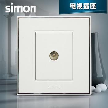 西蒙电气插座 面板56系列 雅白色 一位直插电视插座