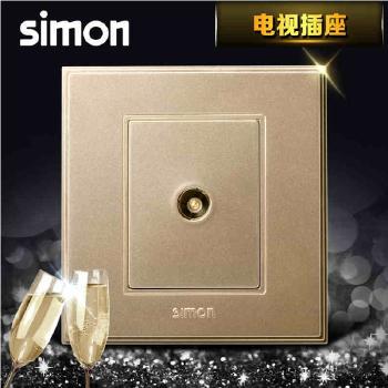 西蒙电气插座 面板56系列 香槟金 电视插座