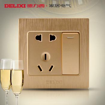 德力西开关插座香槟金拉丝面板墙壁开关金色一开五孔电源插座面板