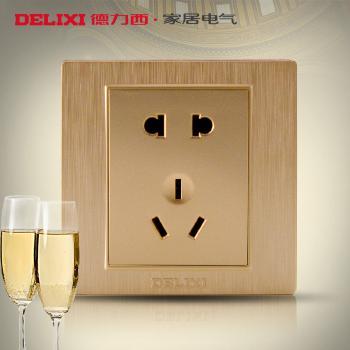 德力西开关插座香槟金拉丝开关金色墙壁插座面板二三插五孔插座