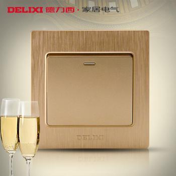 德力西开关 插座 香槟金拉丝面板 单联单开墙壁开关 一开多控开关