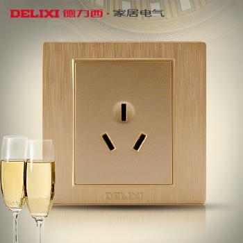 德力西开关插座香槟金空调热水器插金色三孔16A墙壁开关插座面板