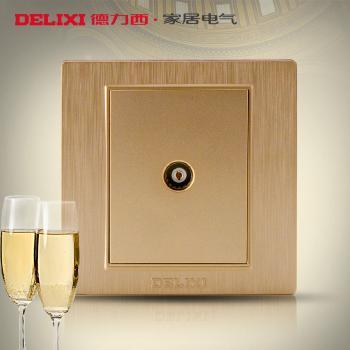 德力西开关插座 香槟金拉丝面板 闭路插座 有线电视插座