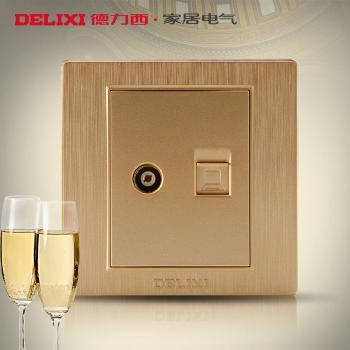 德力西开关插座 香槟金拉丝面板 网络插座闭路插座 电脑+电视插座