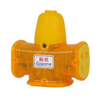 Gowone购旺 工程防摔地拖插座10A/16A双用电源插排/转换器/接线板/工地拖线板 14孔 GC03 透明黄