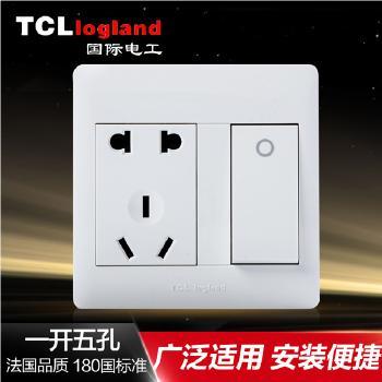 罗格朗(TCL logland) 开关 M1明装系列 明智白86型一开单控带五孔插座