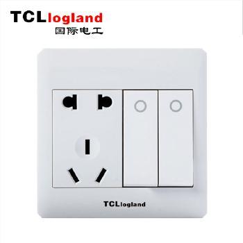 罗格朗(TCL logland) 开关 M1明装系列 明智白86型二开双控带五孔插座