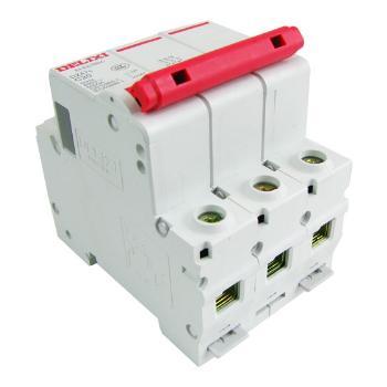德力西 红手柄空气开关 DZ47s-3P40A C型 红色空开DZ47断路器升级产品 红手柄开关 占3回路